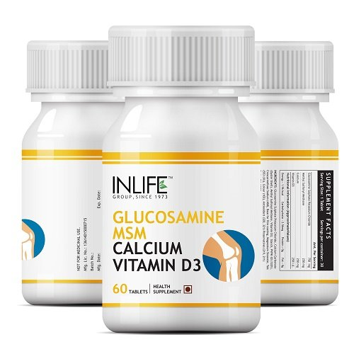 INLIFE™ Glucosamine MSM Calcium Vitamin D3 Supplement - 60 Tablets (4 pack)