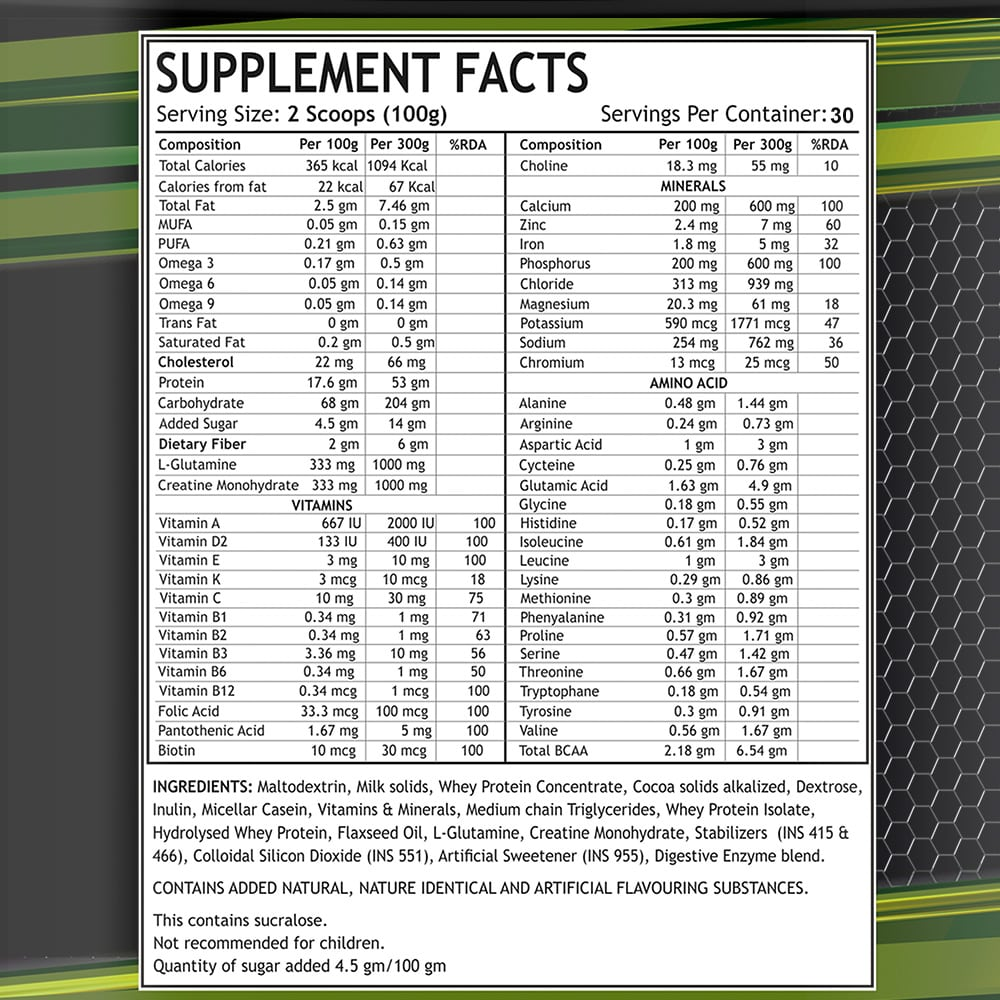 Mass Gainer Supplement Facts