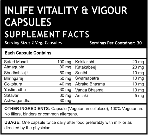 Vitality Vigour Supplement Facts