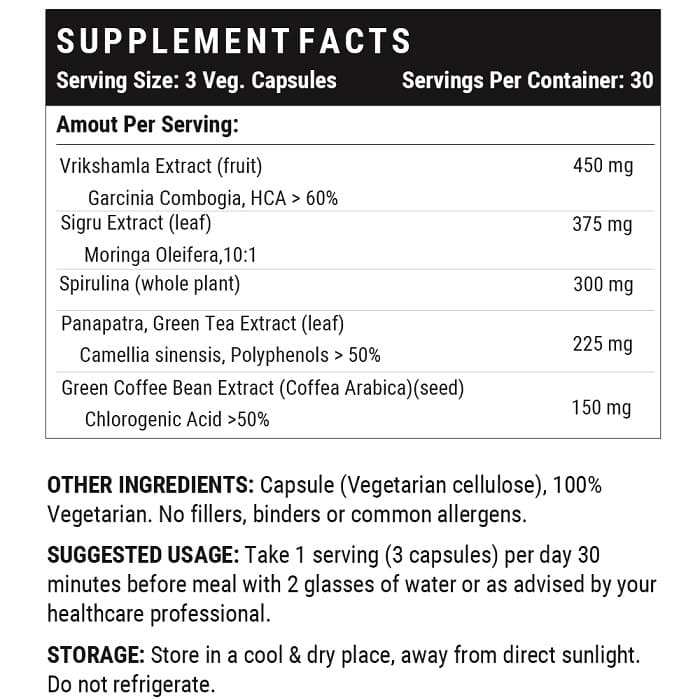Keto slimming capsules supplement facts