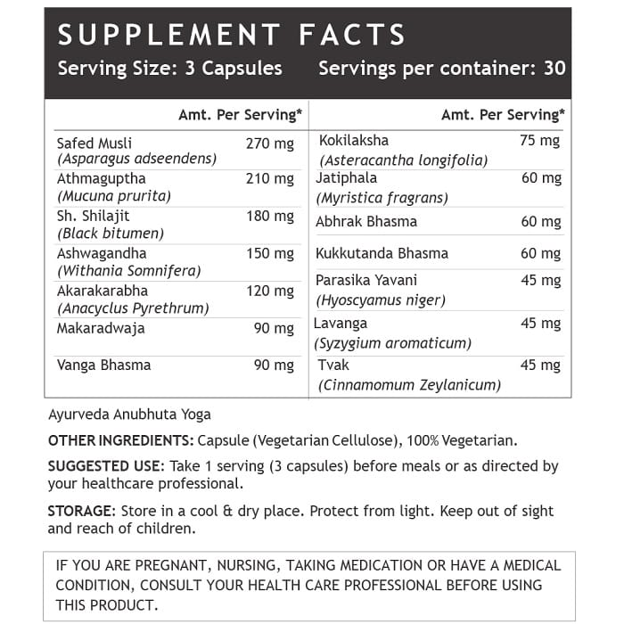 Vitality and Vigour Plus Supplement Facts