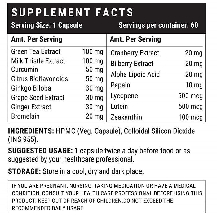 Super Antioxidant Supplement Facts
