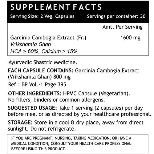 Garcinia Cambogia 1600 mg supplement facts