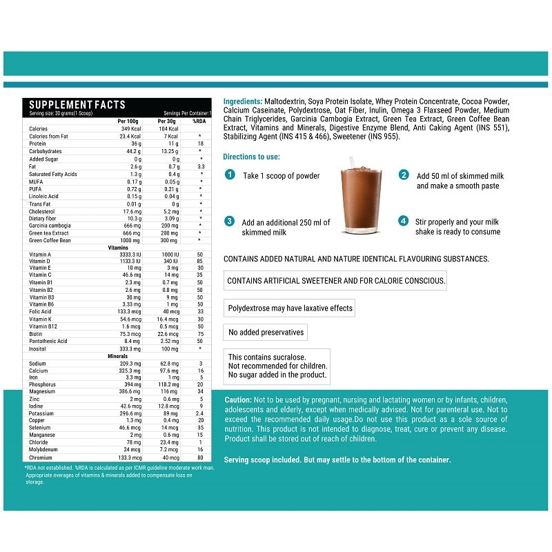 Nutritional Meal Shake Supplement Facts