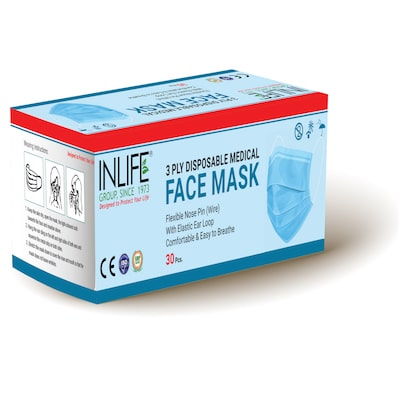 3ply face mask with nose pin