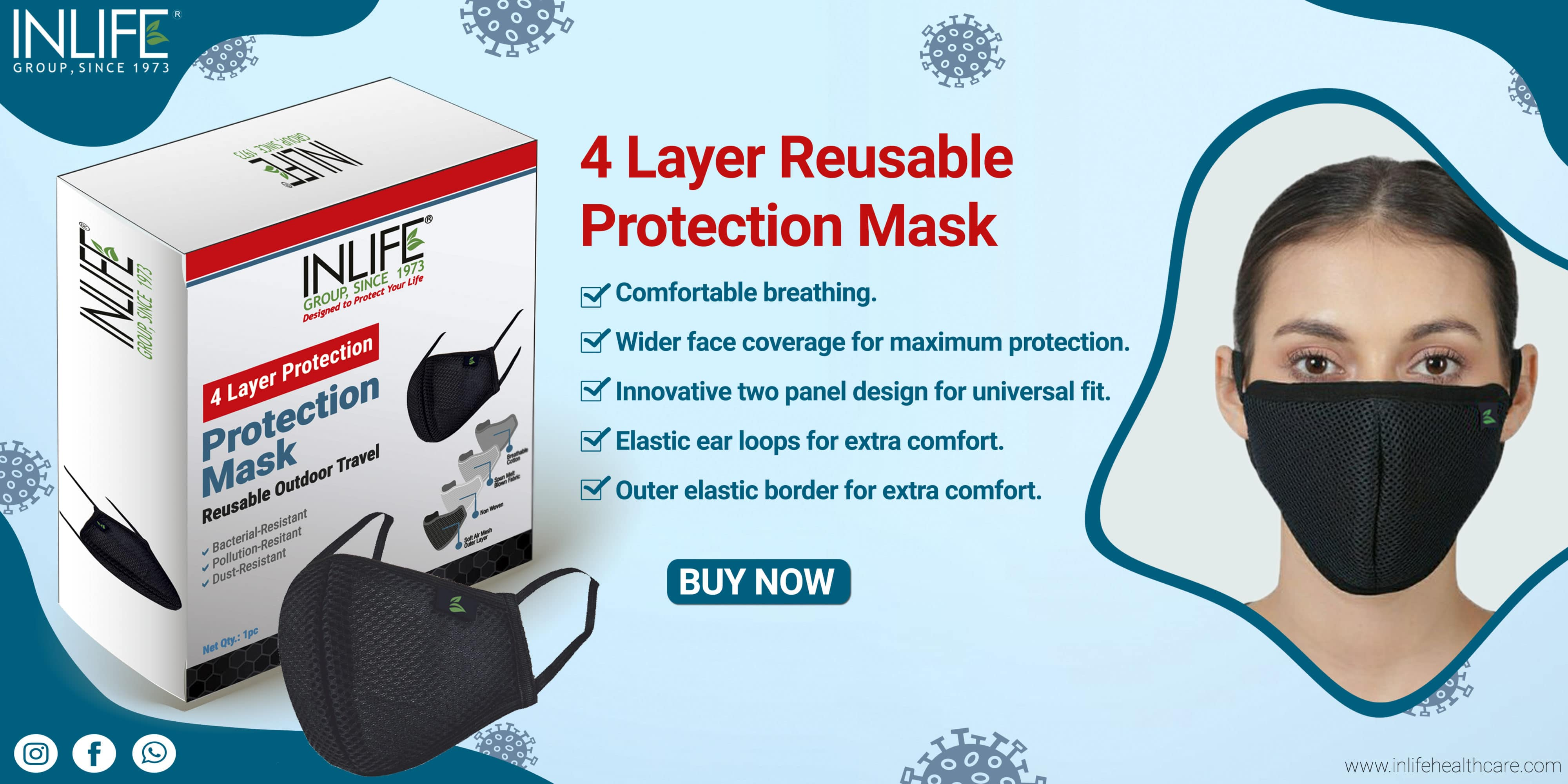 reusable washable 4 layer mask